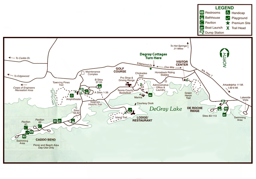 DeGray Lake State Park Map